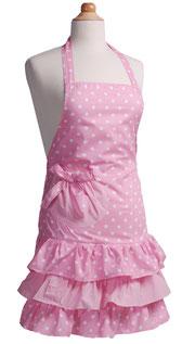 Kinderschürze in rosa mit gerüschtem Rock