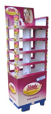 Bodendisplay modular. Trays an 2 oder 3 Seiten offen. Mit Sockel und Topper, Header, Topschild