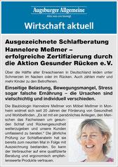 Artikel der Augsburger Allgemeinen über die erneute Zertifizierung von Hannelore Meßmer dur die Organisation AKTION GESUNDER RÜCKEN e.V
