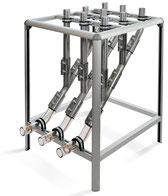 Materialverteiler, Kupplungsbahnhof Aluminium-Gestell