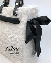 Rubanリュバン ハンドメイドバッグ オリジナルバッグ セレモニー ネット編み付けバッグFilierフィリエ ディプロマ講座課題作品