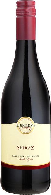 Dekker's Valley REVELATION 2015 15.% Vol- Red blend:  Cabernet Sauv. 52%, Shiraz 35%, Tempranillo 13% Ein feiner und fruchtiger Rotwein hergestellt aus 3 bedeutenden südafrikanischen Rebsorten. Feine Tannine mit einer bemerkenswerten Frucht, macht ihn zu