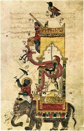 Die Uhr war so konstruiert, dass sich zu jeder halben Stunde die Figuren bewegten und Geräusche ertönten.