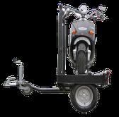 Der quer positionierte Motorradträger auf eigenen Rädern - der ALU-Star Rolli