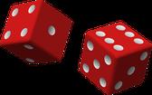 Illustration von zwei roten Würfeln
