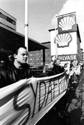 Autonom boykottaktion ved en Shell tank