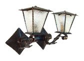 Pair Wall Sconces LANTERN GOTHIC Spanish Wrought Iron Italian French mid Century Mediterranean