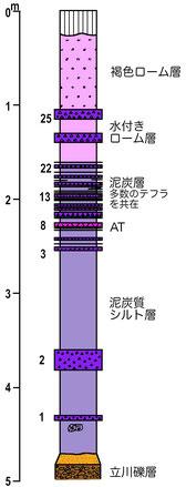 図9 調布市野川河川改修工事露頭の柱状図(千葉ほか,1982を改変)