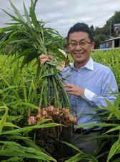 CEO and Founder Keigo NAKAGAWA in Ginger field in Kochi prefecture, Japan
