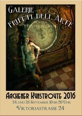 Plakate mit Motiven aus dem Steampunk zur Aachener Kunstroute 2016