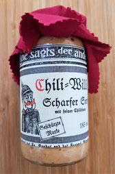handwerklich produzierter Senf mit Chili. Mit einer enormen Schärfe im Abgang