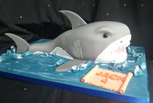 3D shark birthday cake