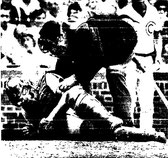 Bob Boone gets assistance after being hit by a foul tip in the fifth.