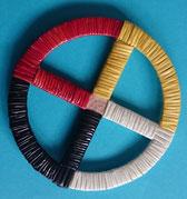 Medizinrad in den Farben der 4 Himmelsrichtungen schwarz, rot, gelb, weiß, Quillwork (Stachelschweinborsten)