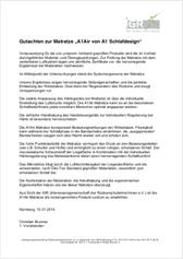 """Gutachten zum Luftbett A1air, die Matratze zur Initiative """"Besser schlafen im Hotel""""."""