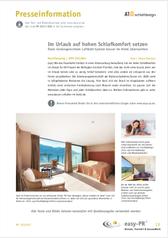 Pressetext: Im Urlaub auf hohen Schlafkomfort setzen Dank rückengerechtem Luftbett-System besser im Hotel übernachten