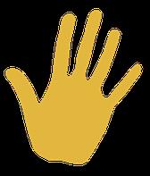 Empreinte de main jaune