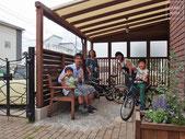 パーゴラ、目隠しフェンス、照明器具、日よけ、テント、雨除け、自転車置場、施工例