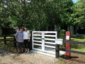 アンティークレンガ、芝生、樹脂エッジ、枕木、イタウバ、アルミフェンス、施工例