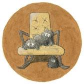 Staumäuse auf einem alten Stuhl