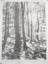 """""""Erinnerung II - Flucht aus Deutschland 1934"""", 22 x 17,5 cm, Bleistift auf Papier, 2020"""