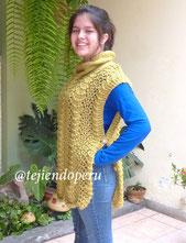 Cómo tejer un poncho pullover rectangular en dos agujas o palitos