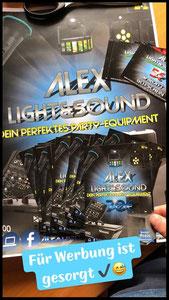 Werbung Flyer Alex Light and Sound Set Komplett Set Partyequipment Mieten Verleih 70 Euro Musikanlage Lichtanlage Mikrofon Nebelmaschine
