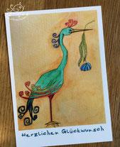 """Postkarte mit Illustration Vogel mit Blume im Schnabel, Spruch """"Herzlichen Glückwunsch von silvanillion"""