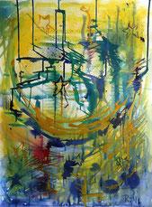 Mond und Sterne, abstrakt, modern, live zu Musik entstanden. Blau, gelb, gold. Aquarelleffekt, da mit Tinten gemalt.