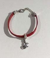 Bracelet cuir plat - breloque singe.  Réf : CFLL1803.  Prix : 10€