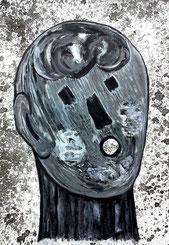 Seelenverwandte 1: Tusche und Acryl auf Papier, 29,5 x 20,5 cm, 2019