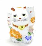 九谷焼『招き猫』4号 デコ盛 花づくし 両手