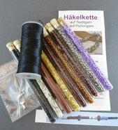 Set für Häkelketten mit Rocailles und Textilgarn oder Nylongarn