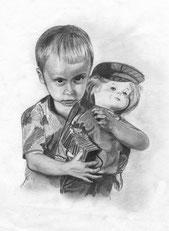 Портрет мальчика выполнен карандашами различной степени мягкости.