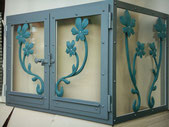 Cheminée Glastüre mit Ornamenten