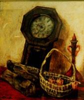 時計と静物 ( 油彩・F10 )
