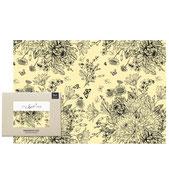 Bienenwachstuch - Blumenwiese schwarz-weiß