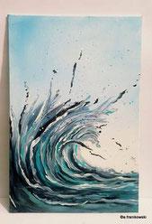 maritime, moderne Malerei einer Welle, abstraktes Wandbild gemalt
