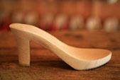 Semelle bois à haut talon modèle Elvire pour sabots d'été et sandales artisanales en cuir