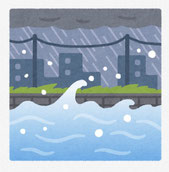 風と波で危険にさらされる町 イラスト