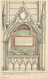 Dessin du tombeau de Guérin, évêque de Senlis, mort en 1227. Tombe monumentale autrefois adossée au mur du chevet du chœur de l'abbatiale. Collection Roger de Gaignières