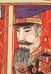 図は「S030大元師陛下新橋御發輦ノ圖」の中の明治天皇の肖像(拡大図)