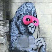 《ピンク色の仮面をつけたゴリラ 》
