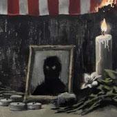 『黒い影の肖像と燃えるアメリカ国旗』