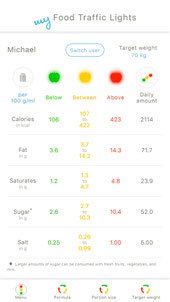 my Food Traffic Lights app step 2 personal nutrition recommendations