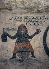"""fresque murale """"Fons de la Gaité"""", cave troglodytique à Loches (Indre-et-L.)"""