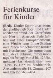 Westdeutsche Zeitung Bericht vom 16.02.2005