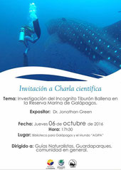 Invitation to one presentation of Jonathan R. Green in Galapagos