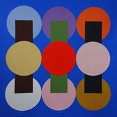 Ellen Roß: Collage, Vinyl auf Karton, 40 x 40 cm