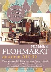 Druckatelier46 Mülchi - Gestatung Flugblatt Flohmarkt Mülchi